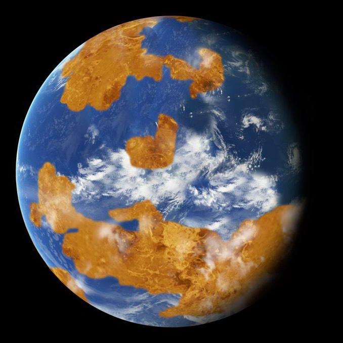 这是艺术家对金星当时表面可能存在水的想像图。