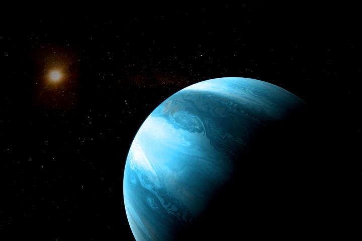 艺术家想像蓝色的类似木星的巨行星环绕低温红矮星公转的景象。 蓝色的类似木星的巨行星。