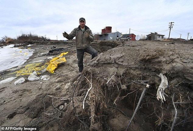 科学家一直在关注像图中所看到的那样的永久冻土层侵蚀,现在有证据表明,融化释放到大气中的碳比之前认为的要多两倍。