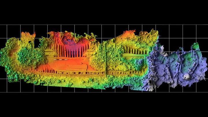在2016年和2018年的野外作业中对沉船进行的3D扫描显示了考古遗骸的高度详细视图