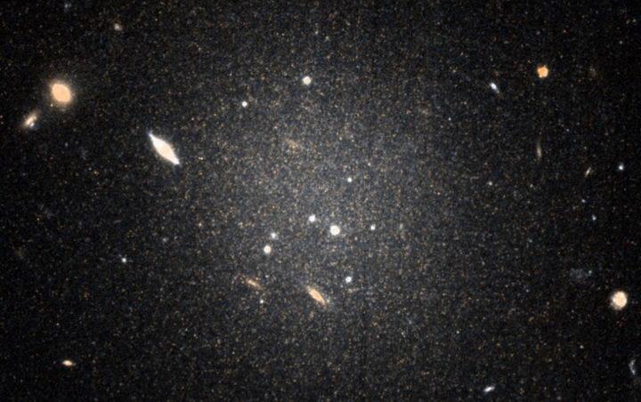 (图说)哈勃太空望远镜拍摄的这张昏暗且弥散的星系NGC 1052-DF4新影像,为最新研究提供了最强有力的证据,证实这个奇怪的星系基本上没有暗物质。