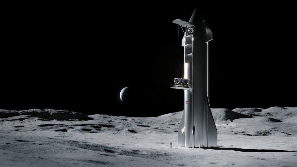 SpaceX在月球上的星际飞船的艺术家插图