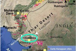 ▲印度和巴基斯坦境内青铜器时代印度河流域文明遗址的位置(图上的点都是),其中Dholavira是由考古学家挖掘出来,为印度最大的印度河流域文明城市遗迹之一。