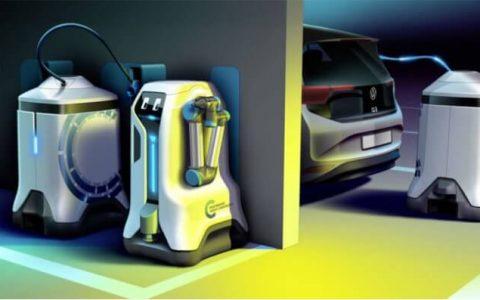 解决电动车充电桩不足,福斯汽车提出「充电机器人」概念