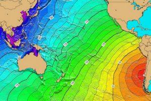 图:世界上最大的地震-海啸地图:智利地震产生了强烈的海啸,以每小时200英里的速度穿越太平洋。这波浪潮在夏威夷造成61人死亡,在日本造成138人死亡,在菲律宾造成32人死亡。星号标记震中的位置,等高线上的数字是波阵面的传播时间(以小时为单位)。