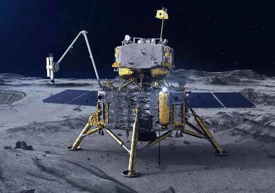 嫦娥五号降落在月球想象图