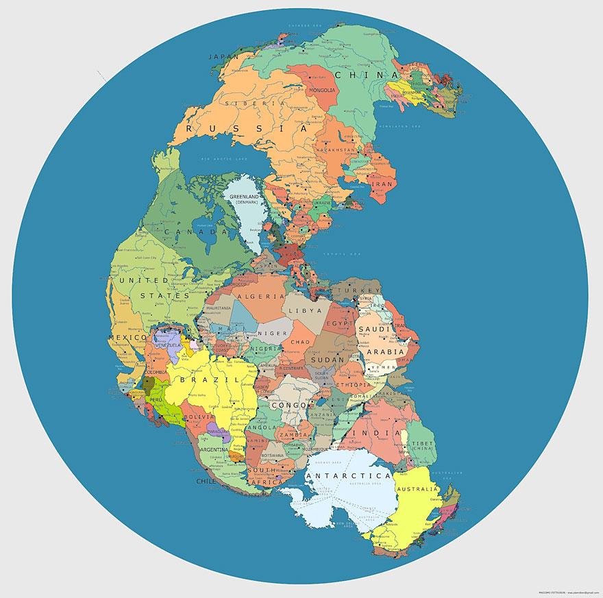 世界各国如果回到盘古大陆上,都会处于什么位置?插图