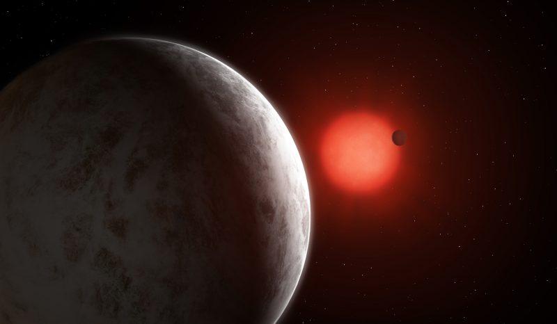 艺术家想象中的Gliese 887和它的两颗超级地球