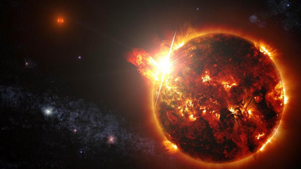 艺术家想象中的恒星耀斑爆发图