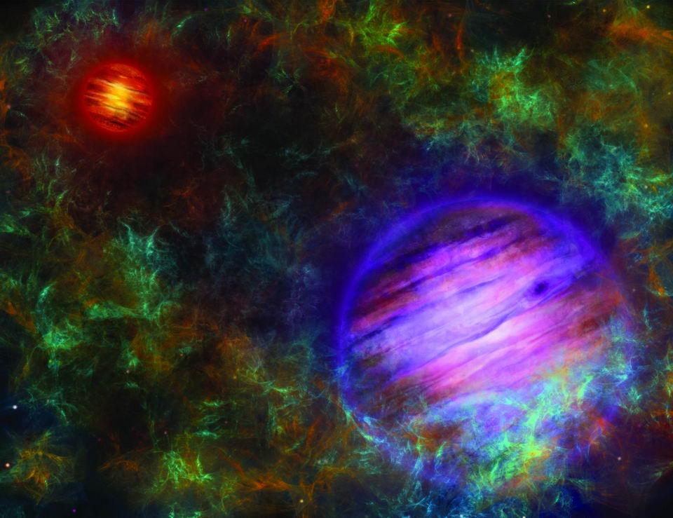 艺术家想象中的两个棕矮星的组成Oph 98,在前景Oph 98B中为紫色,在背景Oph 98A中为红色。Oph 98A是两者中较重的,因此更明亮,更热。这两个物体被形成它们的分子云所包围。图片来源:©伯尔尼大学,插图:Thibaut Roger