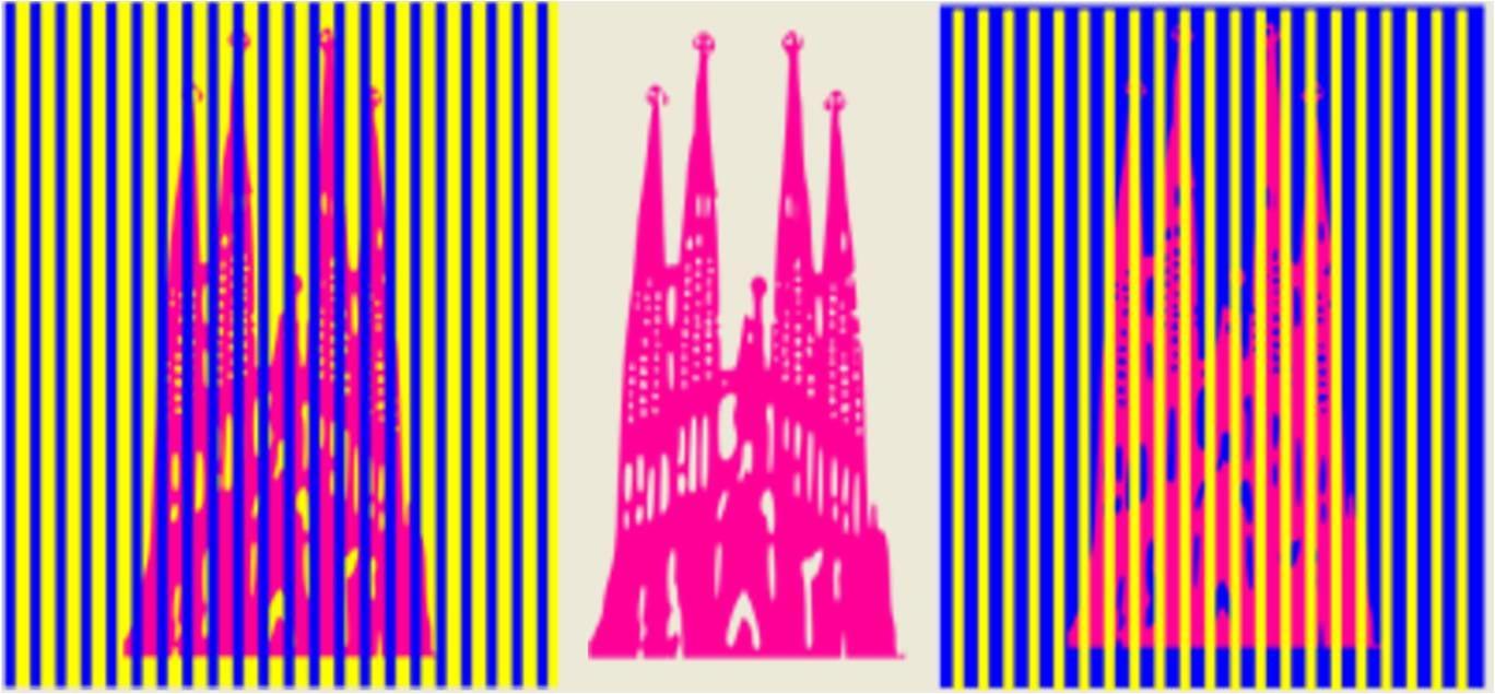在这幅图片中,教堂的颜色都是红色的,但是因为加入了周围的干涉颜色,所以这三个教堂看起来颜色也不一样,这就是视觉错觉,也叫做视觉幻觉。