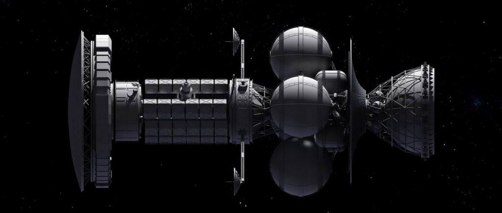 代达罗斯计划的第二级火箭和有效载荷飞船,可以看到前面的金属铍组成的防护盾