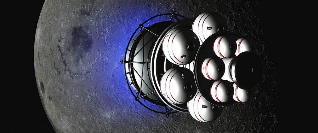 艺术家想象中的正在飞跃月球的代达罗斯火箭
