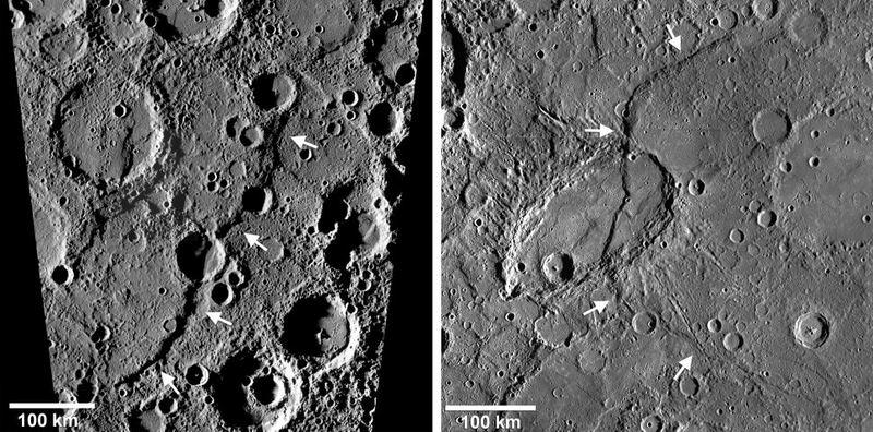 水星上的两个大断层:左图的发现山脊和右图的小猎犬山脊,高度都超过1公里。