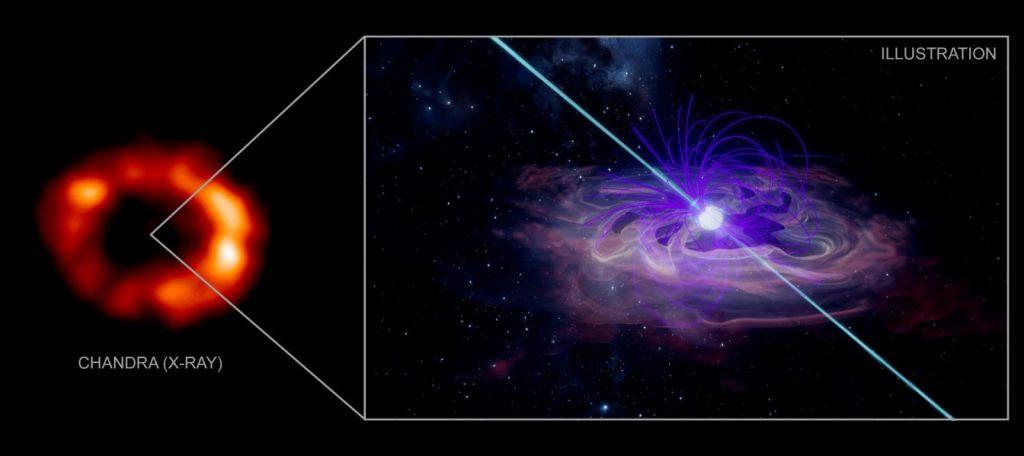 左图是根据钱德拉太空望远镜的观测资料,对SN1987A超新星碎片撞击周围环状物质的3D模拟。右图是艺术家绘制的脉冲星风星云。脉冲星是高速旋转并具有强磁场的中子星,其吹出的粒子和强磁场作用形成脉冲星风星云。