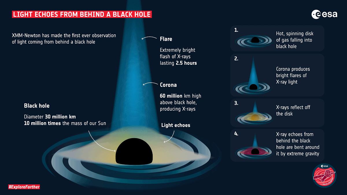 科学家第一次探测到黑洞内部反射的X射线回声